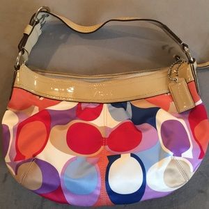 EUC Colorful Silk Coach Purse